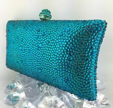 Luxury Pillow Evening Handbag With Teal Swarovski Crystal Purse Party Clutch