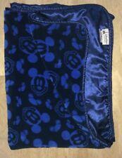 Disney Parks Mickey Mouse Baby Blanket Dark Navy Blue Faces Plush Lovey Satin