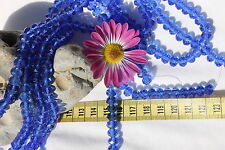 70 Beads Loose 8x6mm Trans Medium Dark Blue Crystal Glass Faceted Rondelle Beads