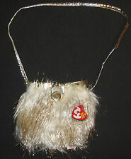 TY GLAM BAG the GOLD and WHITE PURSE BEANIE BABY - MINT with MINT TAG