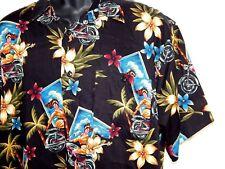 Marc Edwards Motorcycle Hawaiian Shirt Size XL Black Aloha Hawaii