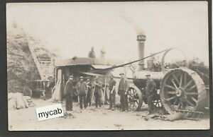 Postcard Rural farming Steam Engine with Foster Lincoln thresher farm labourers