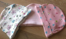 Baby Girls 3 Pack/Set of Cotton Beanie Hats.  Age 0-6 Months.  BNWT.