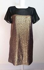 Miss SELFRIDGE textured Gold Sheer Black shoulder Sleeve Shift Dress Tunic sz.10