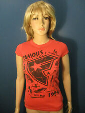 S red-orange FAMOUS STARS AND STRIPES fitted womens t-shirt - 1999 phrases