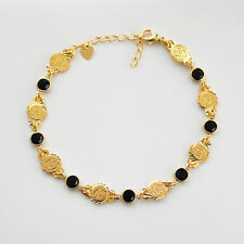 Coin Birthstone Bracelet 24k Gold Plated Middle East Jewelry Size 8 - 9 Inches