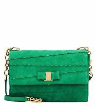 $1,450+ Salvatore Ferragamo Ginny Clutch Shoulder Bag  Emeraude Green Suede NEW