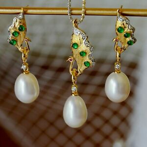Luxury Natural white freshwater Baroque Pearl Peacock pendant earring set TH69