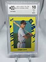 1990 Classic Yellow #T92 Chipper Jones BCCG 10 Atlanta Braves Hall Of Fame HOF