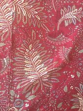 Eddie Bauer Home Red Fern Floral Foilage Pattern Reversible Tan Duvet Full Queen