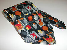 JAEGER MADE IN ITALY 100% SILK TIE ABSTRACT FRUIT BLACK GREY ORANGE RED CRAVAT