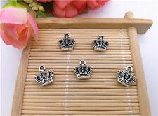 Wholesale 12Pcs Tibet Silver Retro Crown Charm Pendant Beaded Jewelry