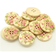 20 Round Flower Pattern Wood Sewing Buttons 4 Holes Ornaments Scrapbook 30mm