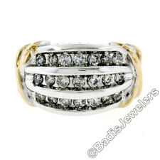14K Two Tone Gold .75ctw Round Brilliant Channel 3-Row Diamond Wide X Band Ring
