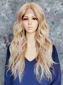 Light Blonde Ombre Long Loose Wavy Heat OK Human Hair Blend Lace Front Wig STEX