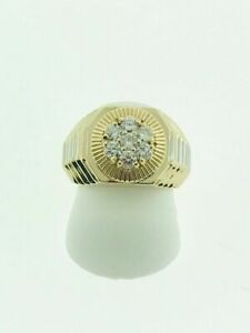 Mens 14K Yellow & White Gold Rolex Style Ring With Diamonds.