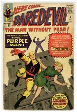 Daredevil #4 Low-Mid Grade Marvel Comics 1964 Origin 1st app PURPLE MAN (j#1897)