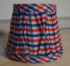 Lampenschirm Landhaus Klemmschirm rot-blau-weiß Kariert Stoff Tisch/Kronleuchter