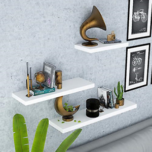 aimu Set of 3 Floating Shelves White,Hanging Wall Shelves Decoration for