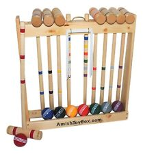 "Amish-Made Deluxe 8 Player Wooden Croquet Set, 28"" Handles"