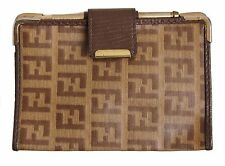FENDI VINTAGE ZUCCA BROWN COATED CANVAS WITH LEATHER TRIM NOTEPAD HOLDER