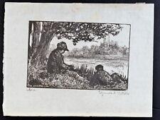 M. Luce Original woodcut C.1895 impressionism river hand-signed  vergé paper