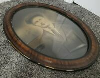 Antique Bubble Convex Glass Oval Tiger Picture Frame Photo of Young Man