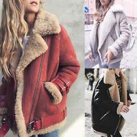 Winter Women Faux Fur Fleece Coat Outwear Warm Lapel Biker Motor Aviator Jacket
