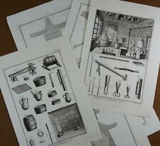 Lot Gravures Antique Print XVIIIe Étain Pelleterie et Foureur Cuir Diderot In-4°