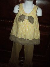 EUC Girls Size 4 Mustard Pie 2pc Set Sleeveless Top Triple Ruffle Pants Yellow