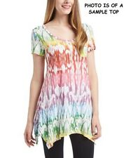 NWT FRESH PRODUCE SUN RAY VINTAGE DRAPE TOP  XS X-SMALL MULTI-COLOR ON WHITE