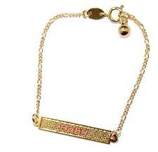 Baby Tag ID Bracelet 18K Gold Plated Bracelet 6 inch - Pink Girl Bracelet