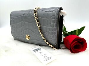 AUTH $348 Tory Burch Robinson Croc Embossed Leather Chain Wallet Bag In Zinc