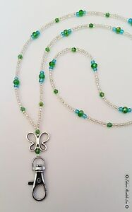 Silver Butterfly Clear ID Badge Holder Crystals HANDMADE Beaded Lanyard Necklace