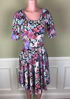Lularoe Womens Dress Nicole Purple Green Multi Color Floral Size S
