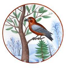 Russian Imperial Lomonosov Porcelain Decorative Plate Bird Pine Crossbill Russia