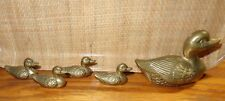 Old Vintage 5 Piece Brass Mother Duck & Baby Set 4 Babies Collectible Figurines