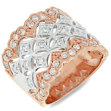18K Two Tone Rose Gold Diamond Wide Ring Womens Round Cocktail Right Hand Size 7