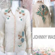 Johnny Was Embroidered Sheer Floral Buttondown Button Down Blouse Top Size Large