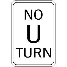 STOP NO U TURN Aluminum METAL Sign 8x12 made USA