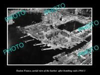 OLD LARGE HISTORIC PHOTO TOULON FRANCE AERIAL VIEW AFTER WWII BOMING c1944 4