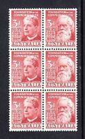 1951 ***MUH*** 3d LAKE - 50th ANNIV. of FEDERATION - BLOCK of 6 with AUTH. IMP.
