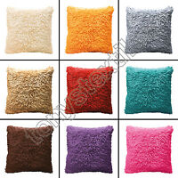 BRIGHT SHAGGY CHENILLE SOFT SHINY TEXTURED CUSHION COVER RED GREY CREAM PURPLE