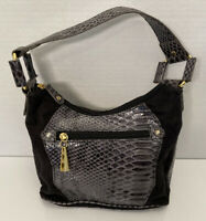 DAISY FUENTES Black Suede and Snake Skin Purse Shoulder Bag Handbag Zip Closure