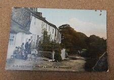 postcard Old cottages Trap Lane Near Padiham tinted card unposted  . Xc2