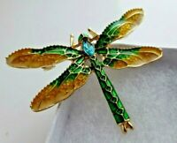 Dragonfly brooch yellow green enamel blue crystal vintage style pin good quality