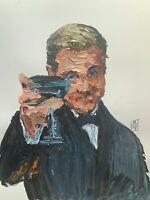 Original Abstract Leonardo Dicaprio Great Gatsby Toast Meme Wall Art Painting