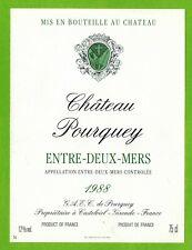 Ancienne Etiquette de vin-Bordeaux(1988)-Entre-2-Mers-Château Pourquey-N°464