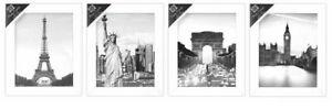 """[Set of 4] White 8""""x10""""/20.25cm x 25.5cm Wooden Photo Frame Wall Mountable"""