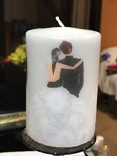 WEDDING COUPLE SILVER  HAND DECORATED PILLAR CANDLE 10x6.5cm